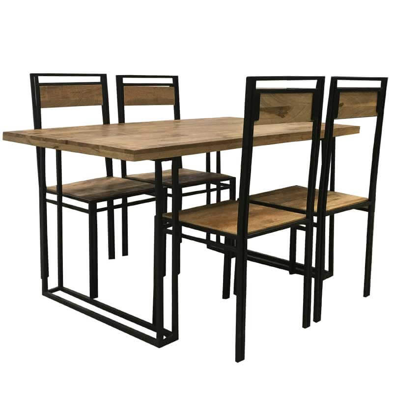 Industrial Mango Dining Table With 4 Chairs 145cm | Furniture Supplies UK