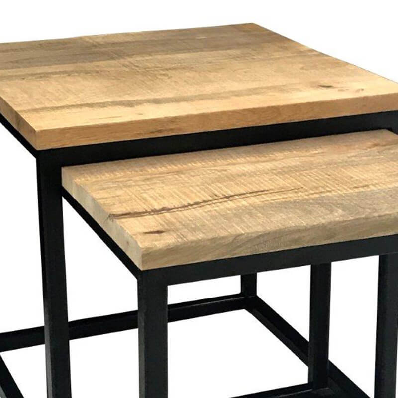 Industrial Nest Of 2 Tables | Light Mango | Solid Wood |