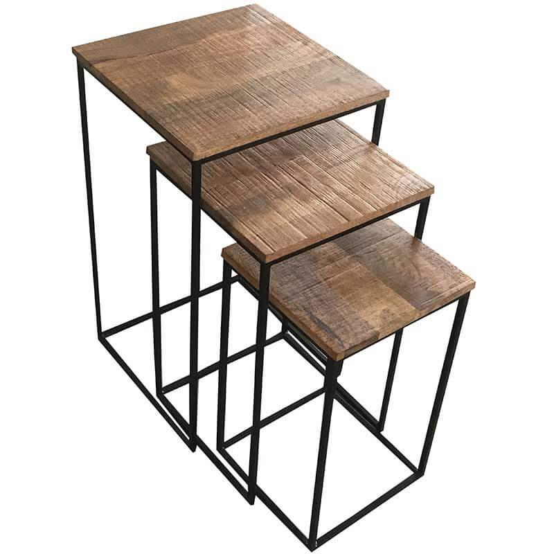 Industrial Stool Set 3 Pcs | Light Mango | Furniture Supplies UK