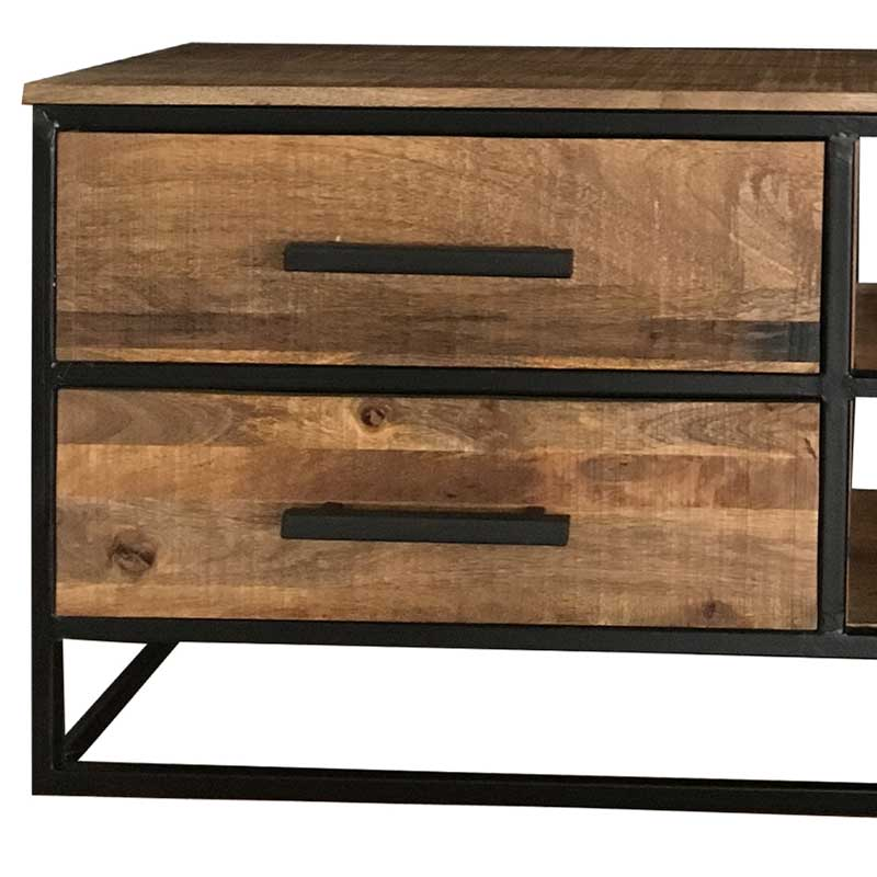 Industrial TV Unit 2 Drawer | Light Mango | Solid Wood |