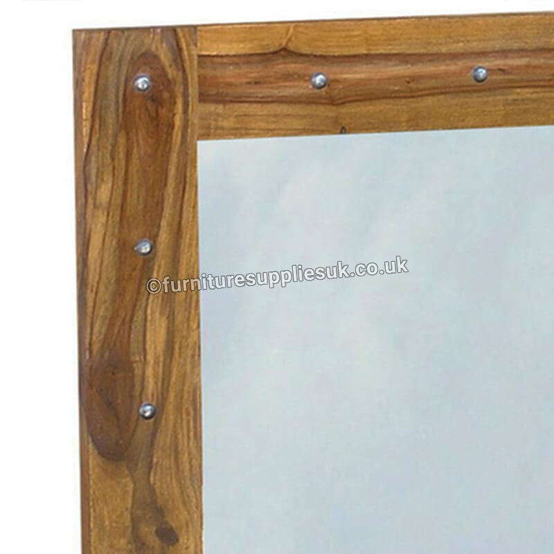 Sheesham Wood | Mirror | FSUK-JM - with studs