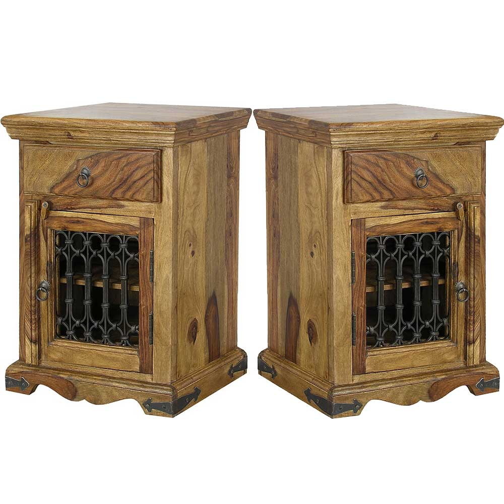 Jali Sheesham Bedside Tables (Pair) | Furniture Supplies UK