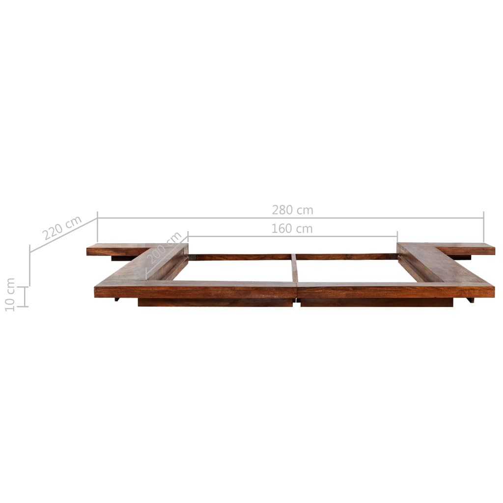Japanese Style Futon Bed Frame Solid Wood 160x200 cm