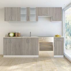 Kitchen Cabinet Unit 7 Pieces with Sink 80x60 cm Oak Look | Furniture Supplies UK