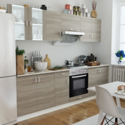 Kitchen Cabinet Unit with Built-in Hot Plate and Oven Oak Look | Furniture Supplies UK