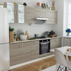 Kitchen Cabinet Unit with Built-in Oven 6 Functions Oak Look | Furniture Supplies UK