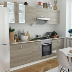 Kitchen Cabinet Unit with Built-in Oven 8 Functions Oak Look | Furniture Supplies UK