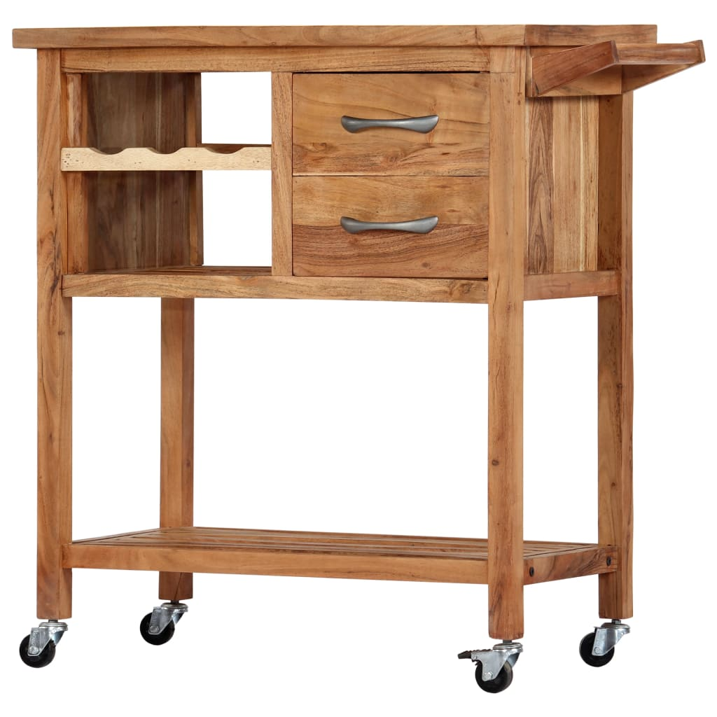 Kitchen Trolley 80x45x91 cm Solid Acacia Wood | Furniture Supplies UK