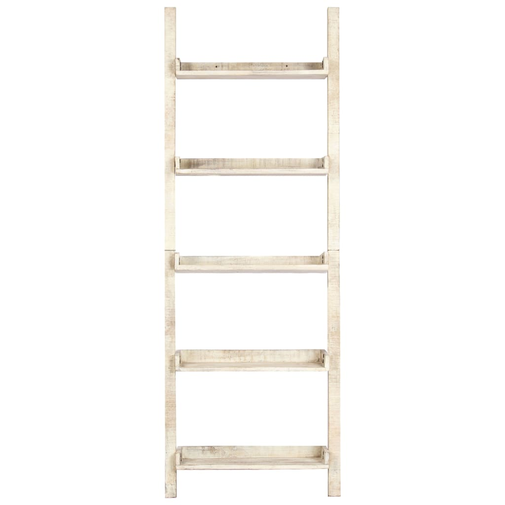 Ladder Shelf White 75x37x205 cm Solid Mango Wood |  | White