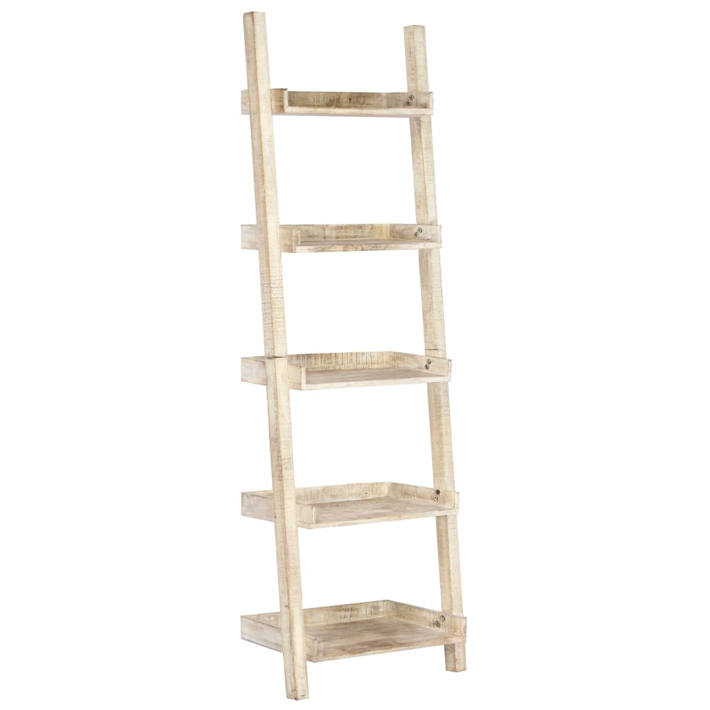 Ladder Shelf White 75x37x205 cm Solid Mango Wood | Furniture Supplies UK