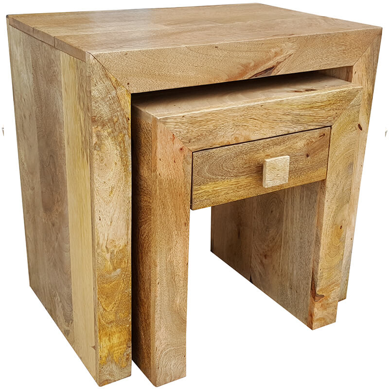 Light Dakota 1 Drawer Nest of Tables | Furniture Supplies UK