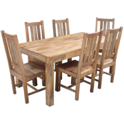 Light Dakota Dining Set 1 Bench 4 Chairs (175cm) | Furniture Supplies UK