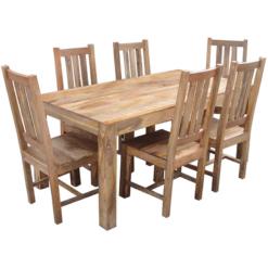 Light Dakota Dining Set 2 Benches 2 Chairs (175cm)   Furniture Supplies UK