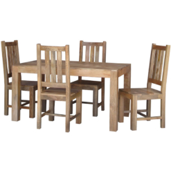 Light Dakota Dining Table 4 Mango Chairs (145cm) | Furniture Supplies UK