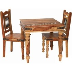 Light Jali 80cm Dining Table 2 Chairs | Furniture Supplies UK