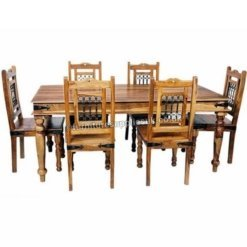 Light Jali Dining Table 4 Chairs 135cm | Furniture Supplies UK
