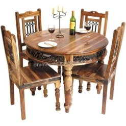 Light Jali Sheesham Round Dining Table 4 Chairs 100cm | Furniture Supplies UK