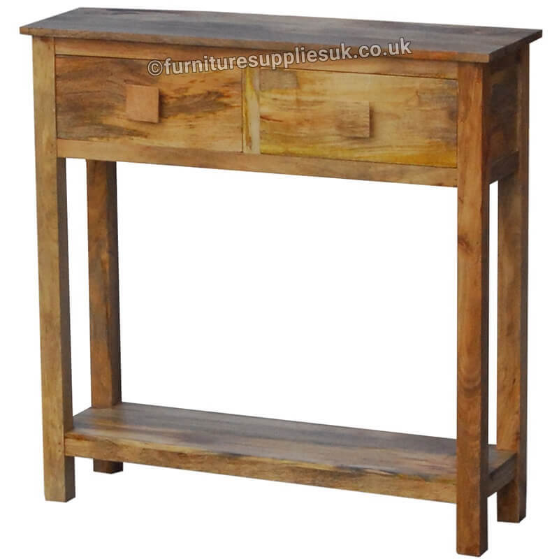 Light Wood Tone Mango Light Dakota Mini Console Table (80cm)