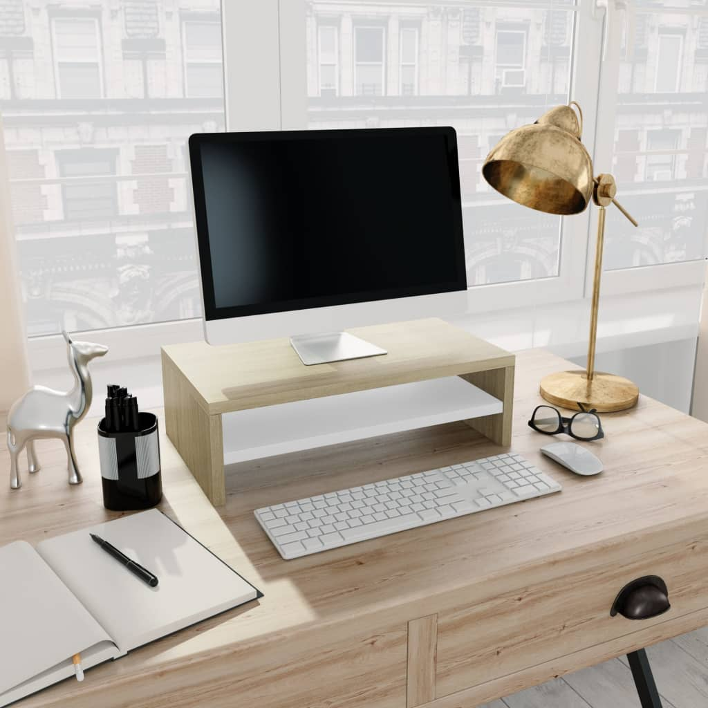 Monitor Stand White and Sonoma Oak 42x24x13 cm Chipboard | Furniture Supplies UK