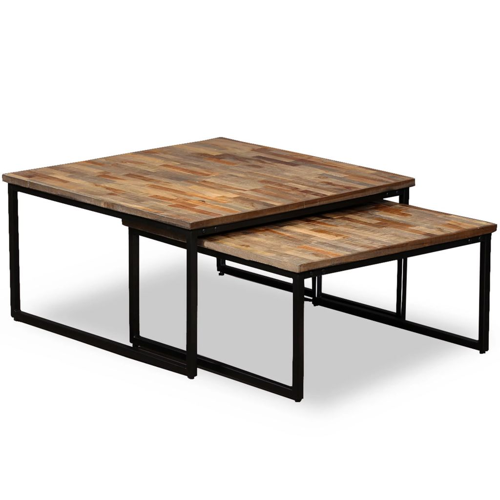 Nesting Coffee Table Set 2 Pieces Solid Reclaimed Teak | Furniture Supplies UK