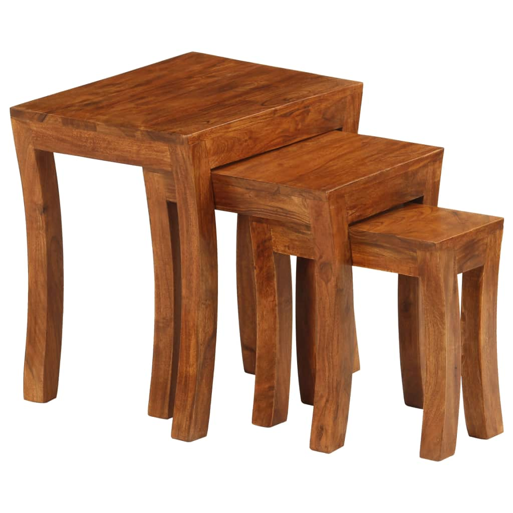 Nesting Table Set 3 Pieces Solid Acacia Wood 50x35x50 cm Brown |  | Brown