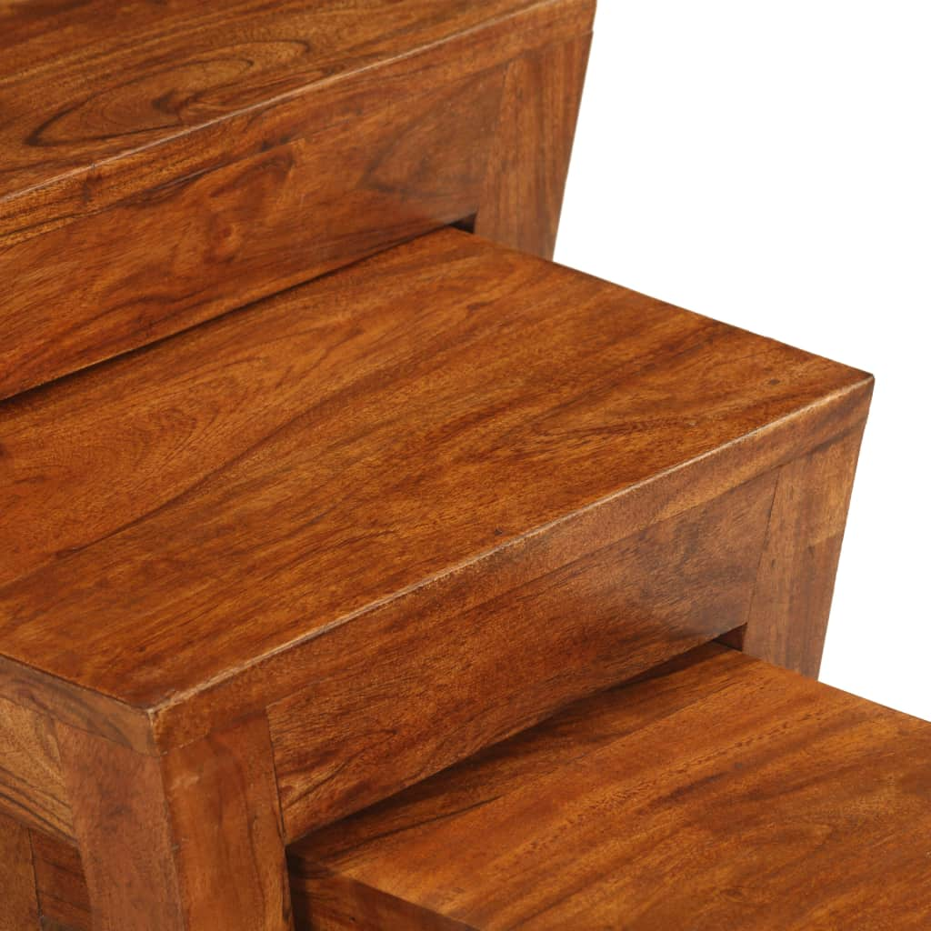 Nesting Table Set 3 Pieces Solid Acacia Wood 50x35x50 cm Brown