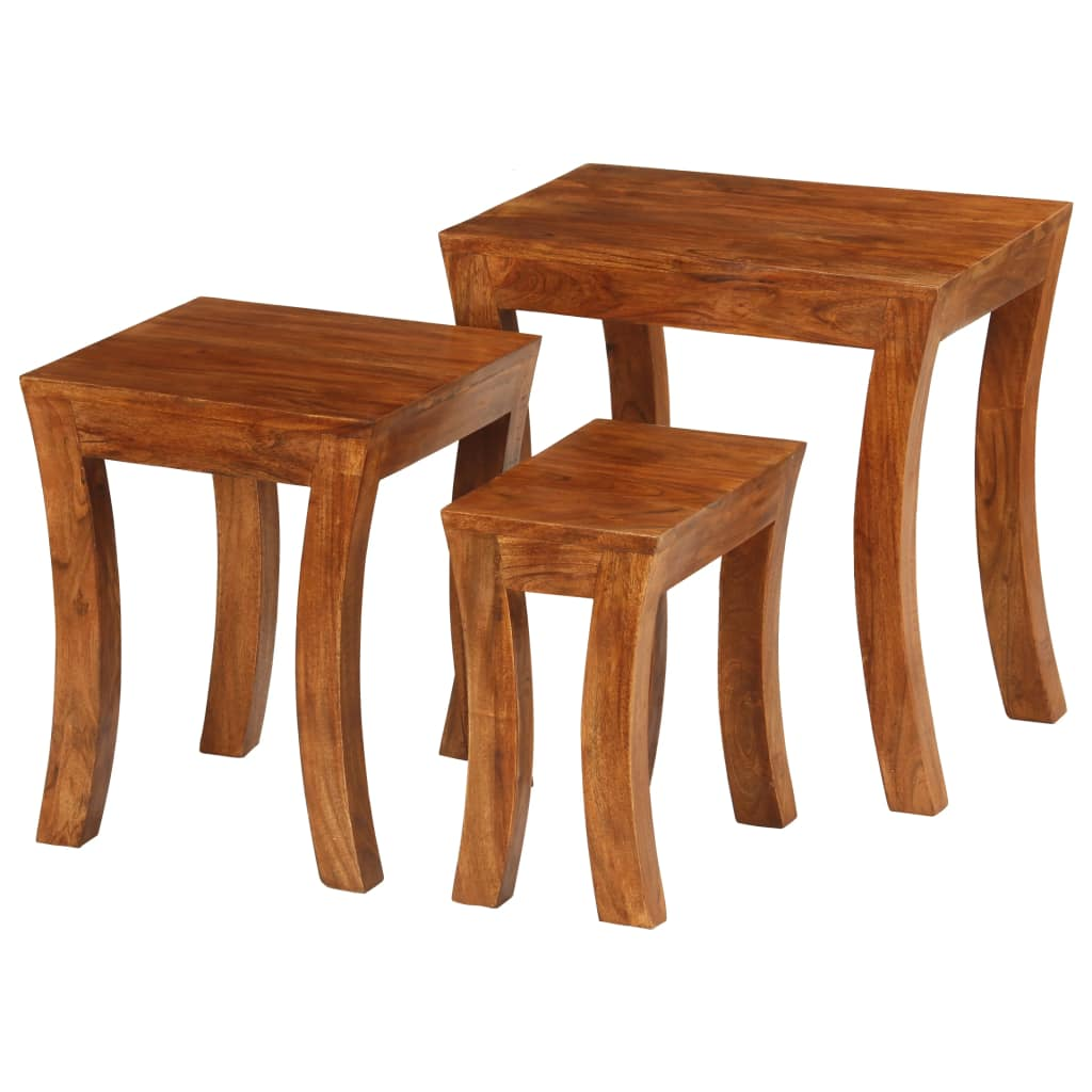 Nesting Table Set 3 Pieces Solid Acacia Wood 50x35x50 cm Brown | Furniture Supplies UK