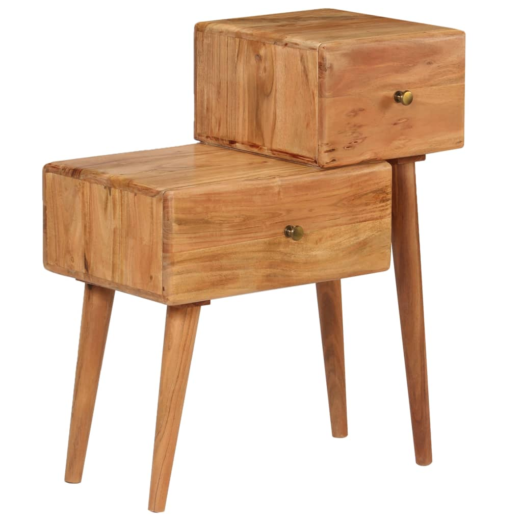 Nightstand Solid Acacia Wood 60x36x75 cm | Furniture Supplies UK