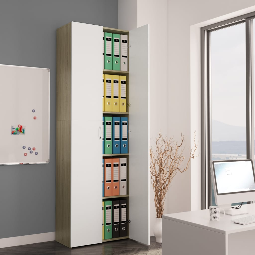 Office Cabinet White and Sonoma Oak 60x32x190 cm Chipboard | Furniture Supplies UK