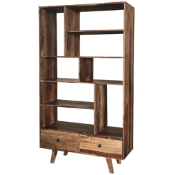 Oker Retro Vintage Bookcase 2 Drawer 8 Shelf | Furniture Supplies UK
