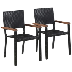Outdoor Chairs 2 pcs Poly Rattan Black | Furniture Supplies UK