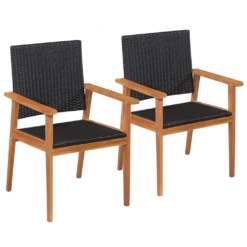 Outdoor Chairs 2 pcs Poly Rattan Black and Brown | Furniture Supplies UK