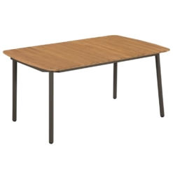 Outdoor Dining Table Solid Acacia Wood and Steel 150x90x72cm | Furniture Supplies UK