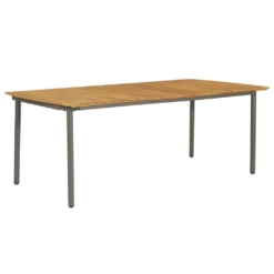 Outdoor Dining Table Solid Acacia Wood and Steel 200x100x72cm | Furniture Supplies UK