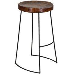 Ravi Industrial Circular Wood Seat Bar Stool   Furniture Supplies UK