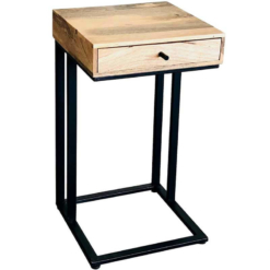 Ravi Industrial Iron Base 1 Drawer Side Table Large | Furniture Supplies UK