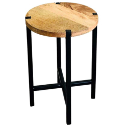 Ravi Industrial Iron Base Plain Round Stool | Large | Furniture Supplies UK