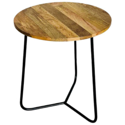 Ravi Industrial Iron Base Top Side Table | Furniture Supplies UK
