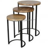 Ravi Industrial Iron Nest of 3 Round Tables | Solid Wood |