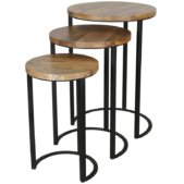 Ravi Industrial Iron Nest of 3 Round Tables | Furniture Supplies UK