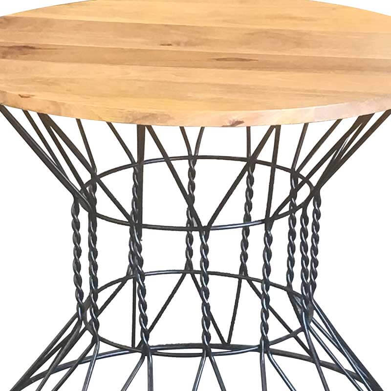 Ravi Industrial Round Dining Table With 2 Chairs | Solid Wood |