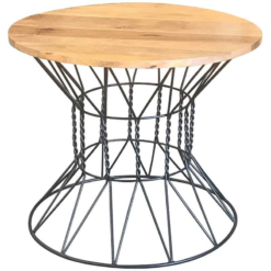 Ravi Industrial Round Dining Table With 2 Chairs | Furniture Supplies UK