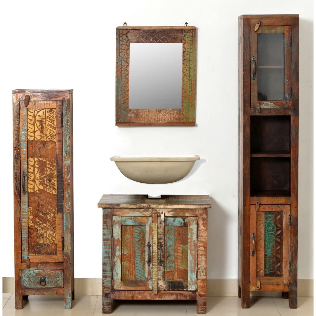 Reclaimed Solid Wood Vanity Cabinet Set With Mirror 2 Side Cabinets Furniture Supplies Uk