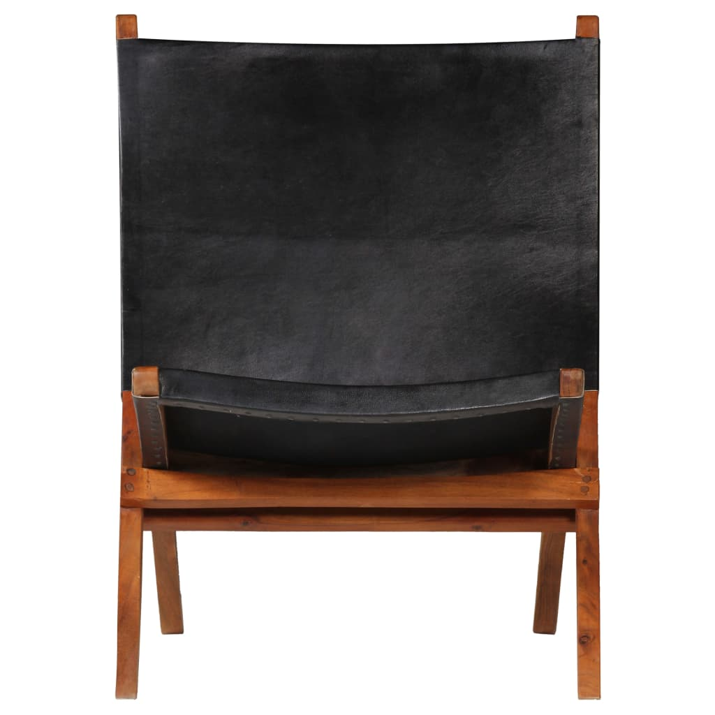 Relaxing Chair Real Leather 59x72x79 cm Black |  | Black