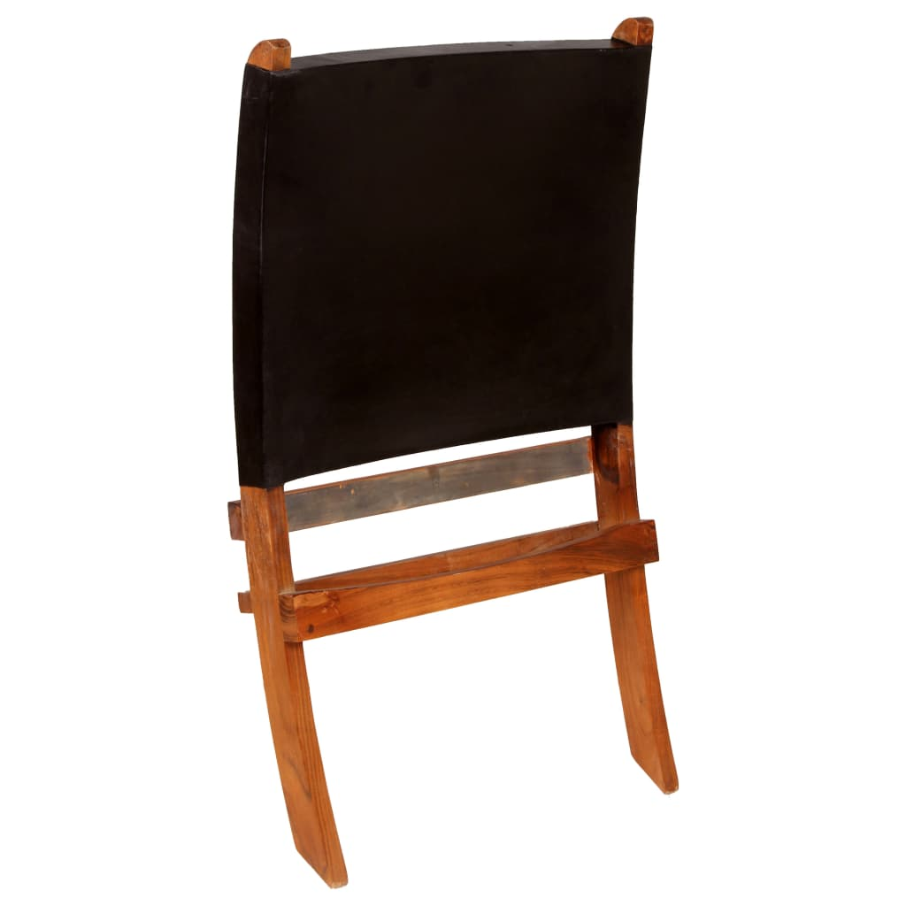 Relaxing Chair Real Leather 59x72x79 cm Black
