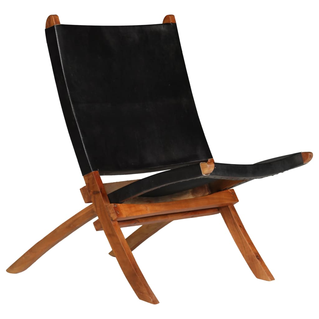Relaxing Chair Real Leather 59x72x79 cm Black | Furniture Supplies UK