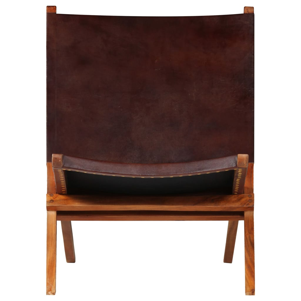 Relaxing Chair Real Leather 59x72x79 cm Brown |  | Brown