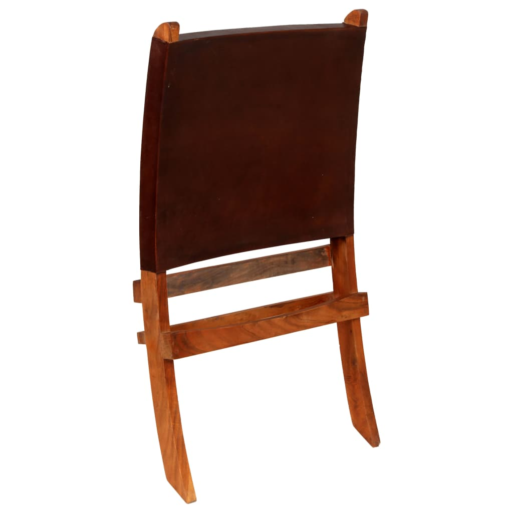 Relaxing Chair Real Leather 59x72x79 cm Brown