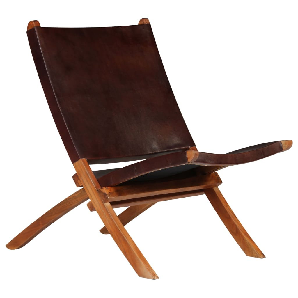 Relaxing Chair Real Leather 59x72x79 cm Brown | Furniture Supplies UK