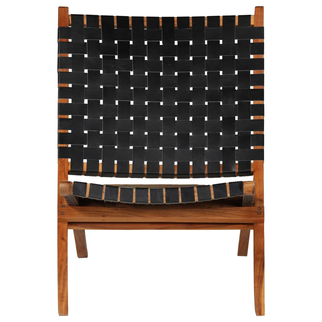 Relaxing Chair Real Leather 59x72x79 cm Crossed-Stripe Black |  | Black